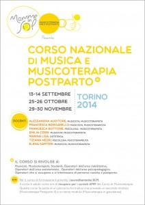 locandina del corso di musicoterapia post-parto prima edizione