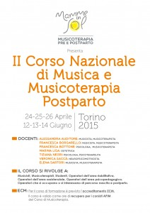 locandina del corso di musicoterapia post-parto seconda edizione